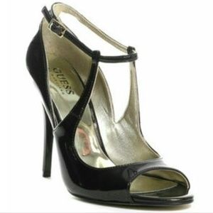 GUESS naga 2 black bronze metallic heels 7.5